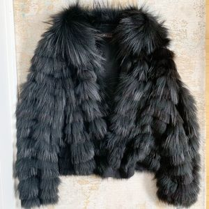 Marc Cain Black Silver Fox with 100% silk lining S